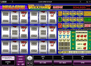 Major Millions Progressive jackpot Game View